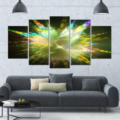 Fractal Explosion Of Paint Drops Abstract Canvas Art Print - 5 Panels