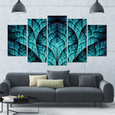 Blue Exotic Biological Organism Contemporary Canvas Art Print - 5 Panels