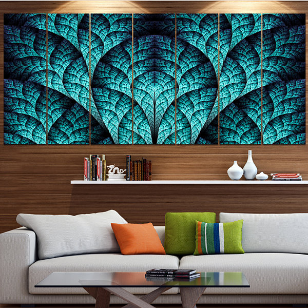 Designart Blue Exotic Biological Organism Contemporary Canvas Art Print - 5 Panels