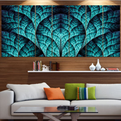 Blue Exotic Biological Organism Abstract Canvas Art Print - 5 Panels