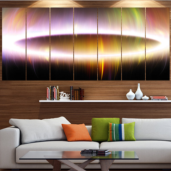 Large Oval Of Northern Lights Abstract Art On Canvas - 7 Panels