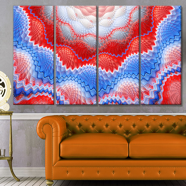 Red Blue Snake Skin Flower Abstract Art On Canvas- 4 Panels