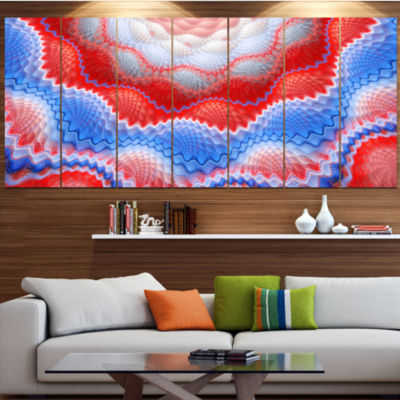 Red Blue Snake Skin Flower Contemporary Art On Canvas - 5 Panels
