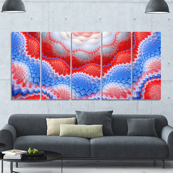 Red Blue Snake Skin Flower Abstract Art On Canvas-5 Panels