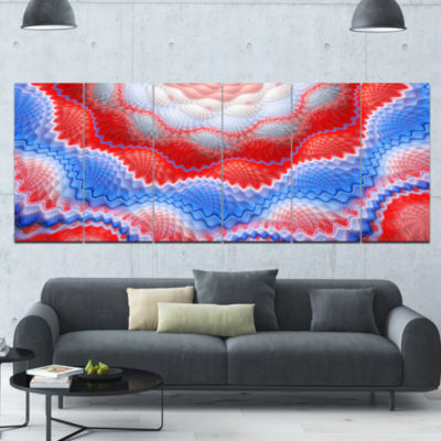 Red Blue Snake Skin Flower Abstract Art On Canvas- 6 Panels