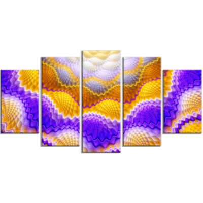 Blue Yellow Snake Skin Flower Contemporary Wall Art Canvas - 5 Panels