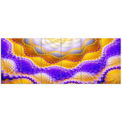 Designart Blue Yellow Snake Skin Flower AbstractWall Art Canvas - 6 Panels