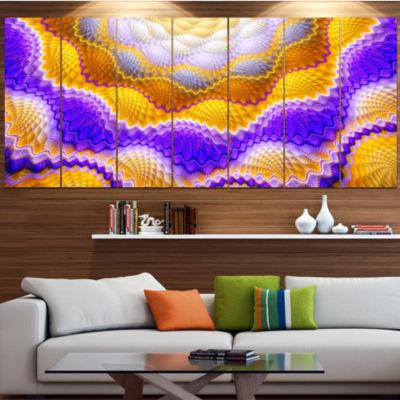 Designart Blue Yellow Snake Skin Flower AbstractWall Art Canvas - 7 Panels