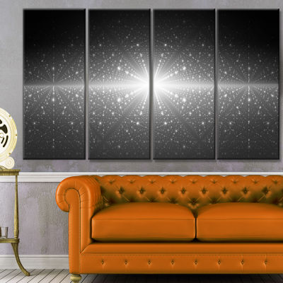 Stardust And Bright Shining Stars Abstract Wall Art Canvas - 4 Panels