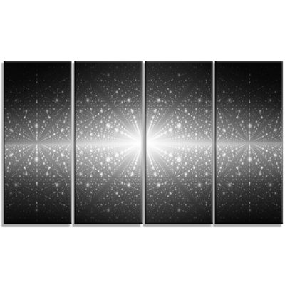 Designart Cosmic Galaxy With Glowing Lights Abstract Wall Art Canvas - 4 Panels