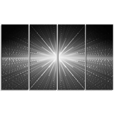 Glowing Star In Cosmic Galaxy Abstract Wall Art Canvas - 4 Panels
