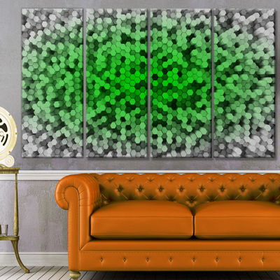 Random Elevated Green Hexagons Abstract Wall Art Canvas - 4 Panels