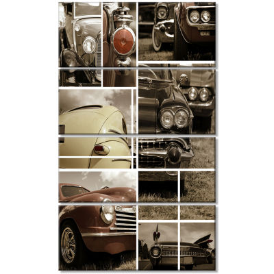 Classic Car Collection Collage Abstract Canvas ArtPrint - 4 Panels