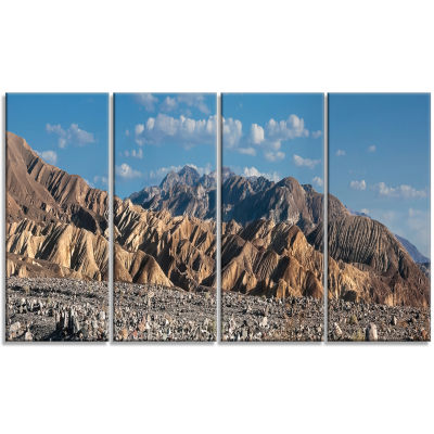 Beautiful Hills In Death Valley Abstract Canvas Art Print - 4 Panels
