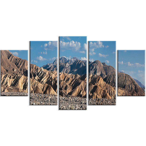 Designart Beautiful Hills In Death Valley AbstractWrapped Canvas Art Print - 5 Panels