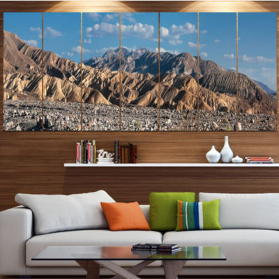 Beautiful Hills In Death Valley Abstract Canvas Art Print - 7 Panels
