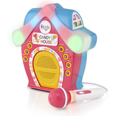 Singing Machine - Kids Candy House Portable Bluetooth Sing-Along Speaker with LED Lit Microphone and Rooftop