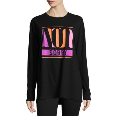 "Flirtitude Long Sleeve ""Not Sorry"" Graphic T-Shirt"