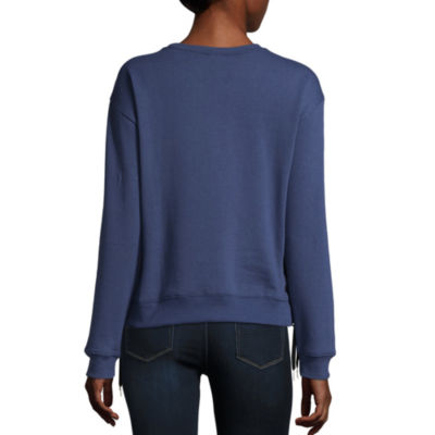 Long Sleeve Side Lace Up Sweatshirt-Juniors