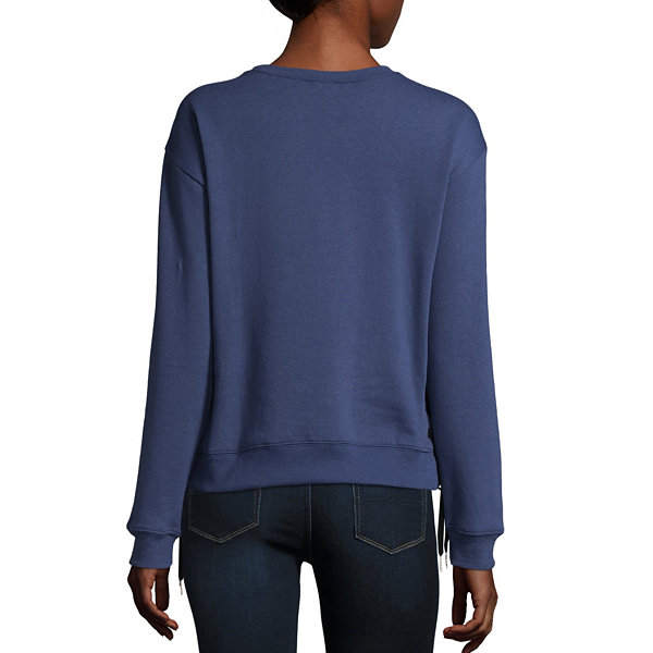 Long Sleeve Side Lace Up Sweatshirt- Juniors