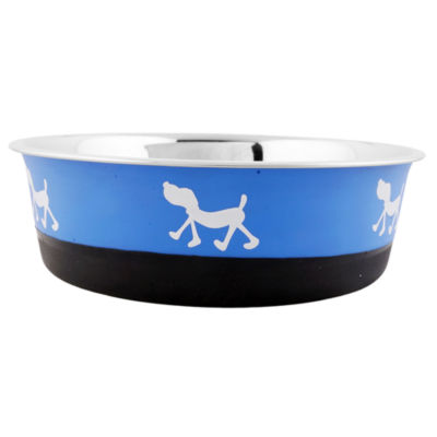 Color Splash Designer Bonded Fusion Pet Bowl in Blue and Black - Small