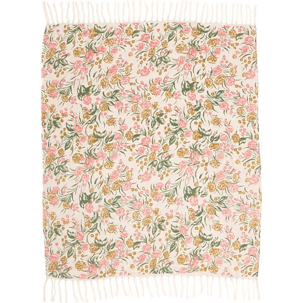 VHC Brands Madeline Printed Floral Woven Throw