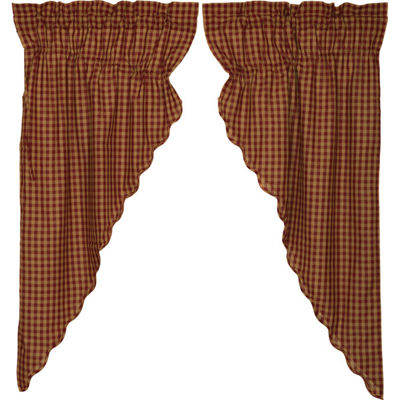 VHC Brands Check Scalloped Window Treatments