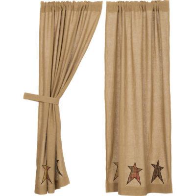VHC Brands Stratton Burlap Applique Star Window Treatments