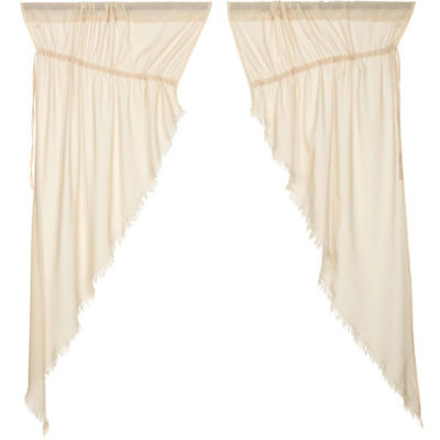 VHC Brands Tobacco Cloth Fringed Window Treatments