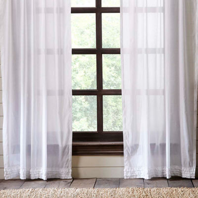 VHC Brands White Ruffled Window Treatments