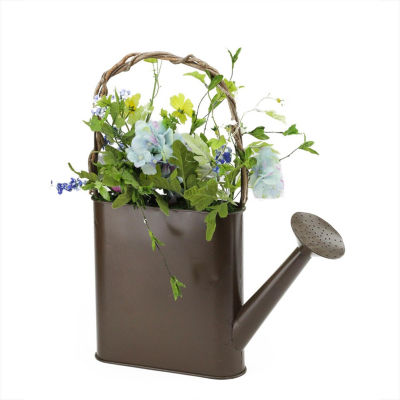 """17"""" Artificial Spring Floral Arrangement Watering Can"""