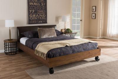 Baxton Studio Brooke Rustic Industrial Faux-Leather Upholstered Metal Platform Bed
