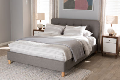Baxton Studio Laureo Mid-Century Upholstered Platform Bed