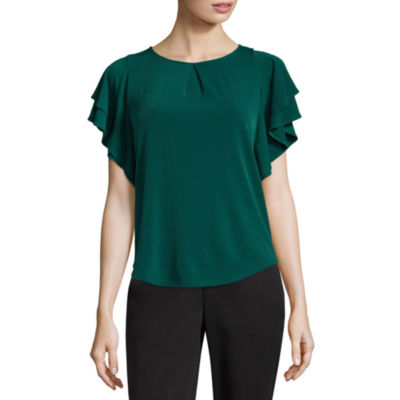 Liz Claiborne Flutter Sleeve Scoop Neck Blouse-Womens