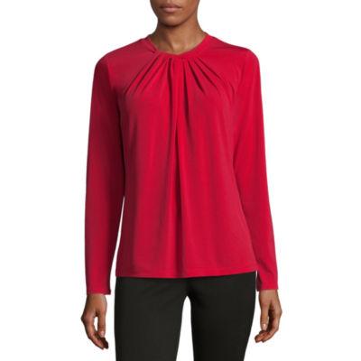 Liz Claiborne Long Sleeve Twist Neck Floral Top