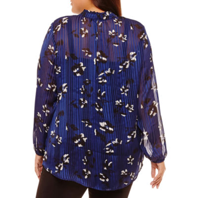 Alyx Elbow Sleeve V Neck Chiffon Floral Blouse-Plus