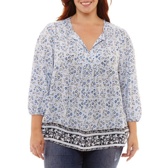 St. John's Bay® 3/4 Sleeve Tie Front Peasant Blouse - Plus