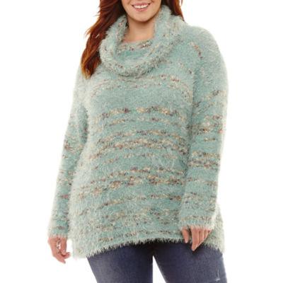 Unity World Wear Long Sleeve Cowlneck Sweater-Plus