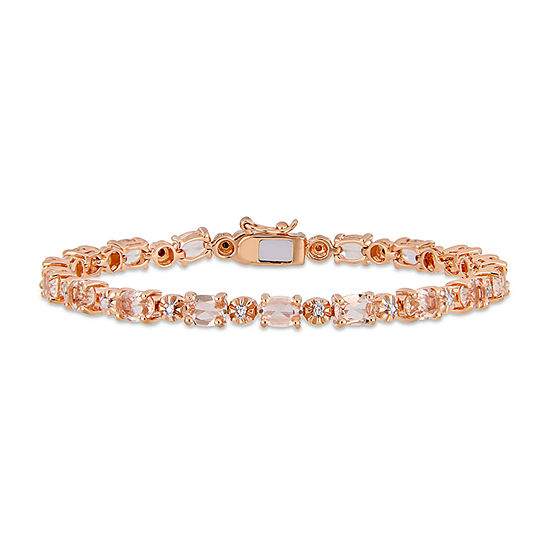 Diamond Accent Simulated Pink Morganite 18K Rose Gold Over Silver 7.25 Inch Tennis Bracelet