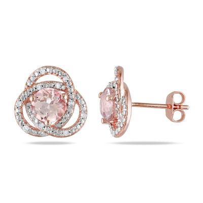 1/10 CT. T.W. Genuine Pink Morganite 18K Rose Gold Over Silver 12.1mm Stud Earrings