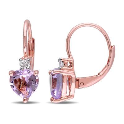 Genuine Purple Amethyst 18K Rose Gold Over Silver Heart Drop Earrings