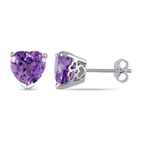 Genuine Purple Amethyst Sterling Silver 8.8mm Heart Stud Earrings