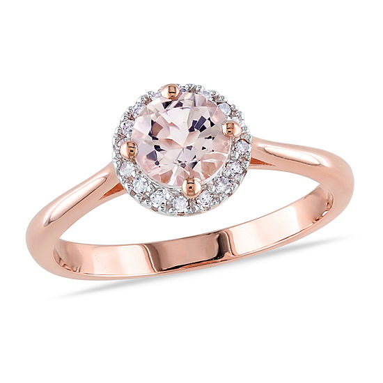 Womens 1/10 CT. T.W. Genuine Pink Morganite 18K Rose Gold Over Silver Cocktail Ring