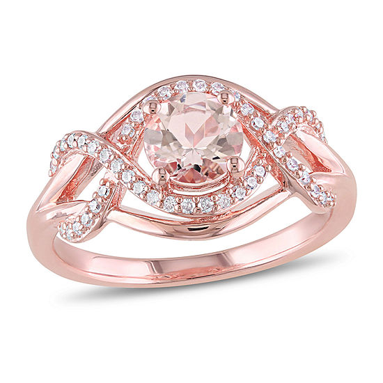 Womens 1/5 CT. T.W. Genuine Pink Morganite 18K Rose Gold Over Silver Cocktail Ring