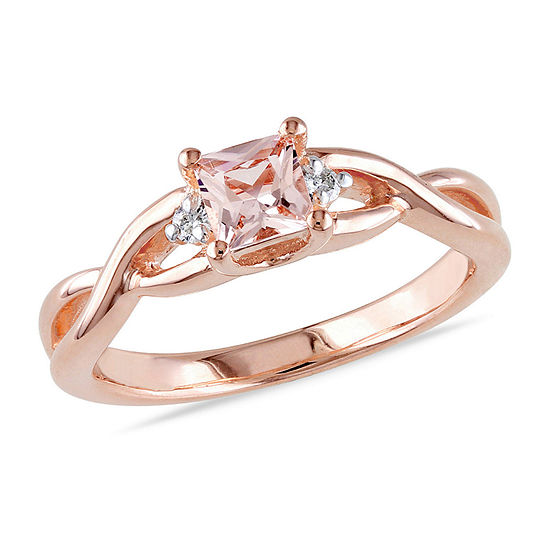 Womens Diamond Accent Genuine Pink Morganite 18K Rose Gold Over Silver Cocktail Ring