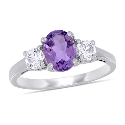 Womens Genuines Purple Amethyst Sterling Silver Cocktail Ring