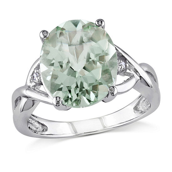 Womens Diamond Accent Genuine Green Amethyst Cocktail Ring