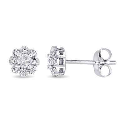 Laura Ashley 1/4 CT. T.W. Genuine White Diamond 10K Gold 6mm Stud Earrings