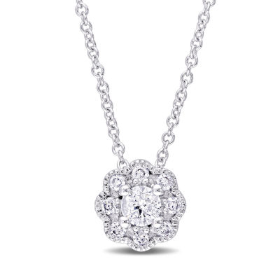 Laura Asley Womens 1/4 CT. T.W. Genuine White Diamond 10K Gold Pendant Necklace
