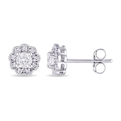 Laura Asley 1/2 CT. T.W. Genuine White Diamond 10K Gold 7.2mm Stud Earrings